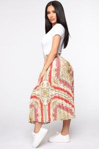 In The End Pleated Midi Skirt - White/Gold