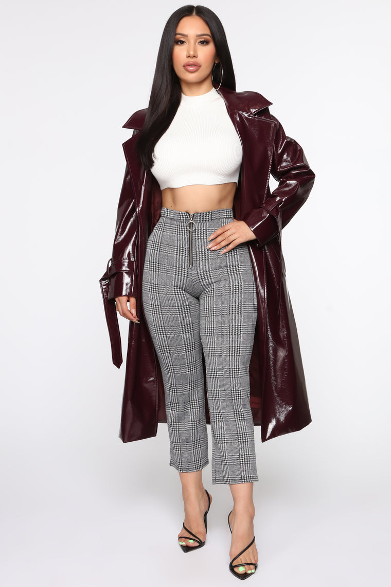 Ex And The City Coat   Burgundy by Fashion Nova