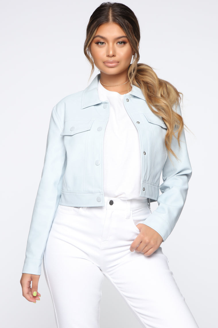 Can't Be Stopped Faux Leather Jacket - Blue
