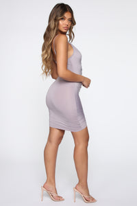 Shanghai Ruched Dress - Grey Angle 3