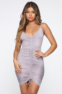 Shanghai Ruched Dress - Grey Angle 1
