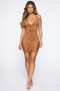 Shanghai Ruched Dress - Brown Angle 1