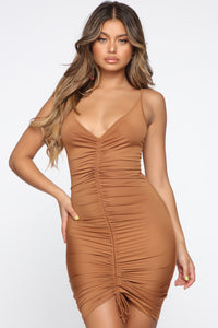 Shanghai Ruched Dress - Brown Angle 2