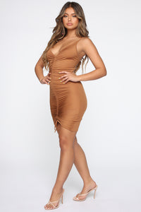 Shanghai Ruched Dress - Brown Angle 3