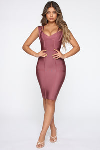 Lansa Bandage Dress - Dark Mauve Angle 1