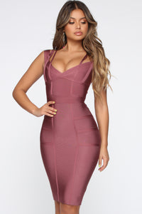 Lansa Bandage Dress - Dark Mauve Angle 2