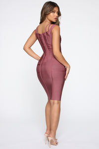 Lansa Bandage Dress - Dark Mauve Angle 4
