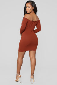 Curious Is This Serious Off Shoulder Dress - Rust