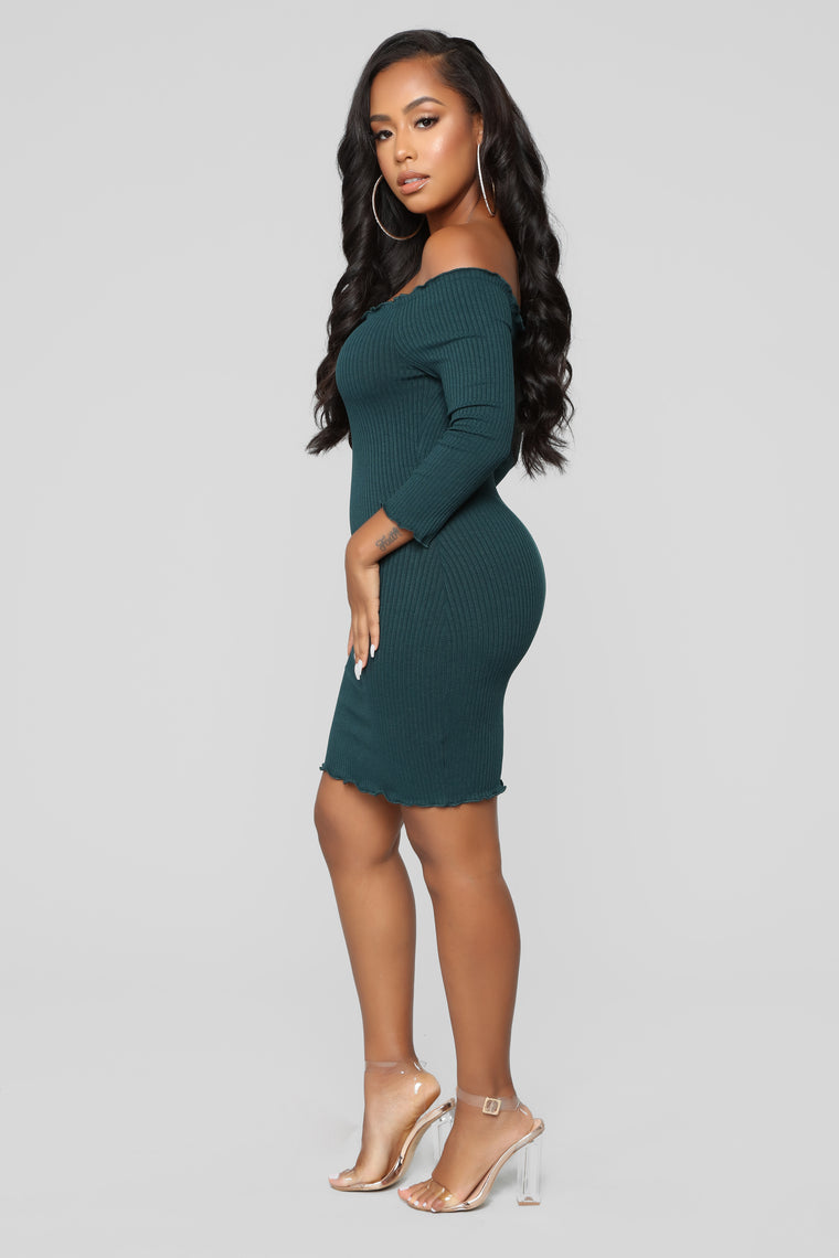 Curious Is This Serious Off Shoulder Dress - Dark Green