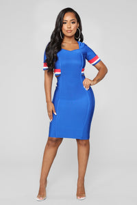 Victory Babe Bandage Dress - Royal