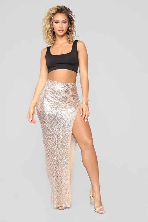 Forever Glistenin' Sequin Set - Black/Rose Gold