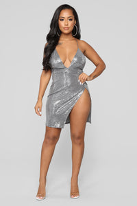 Yukie Metallic Dress - Silver Angle 1