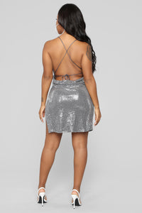 Yukie Metallic Dress - Silver Angle 4