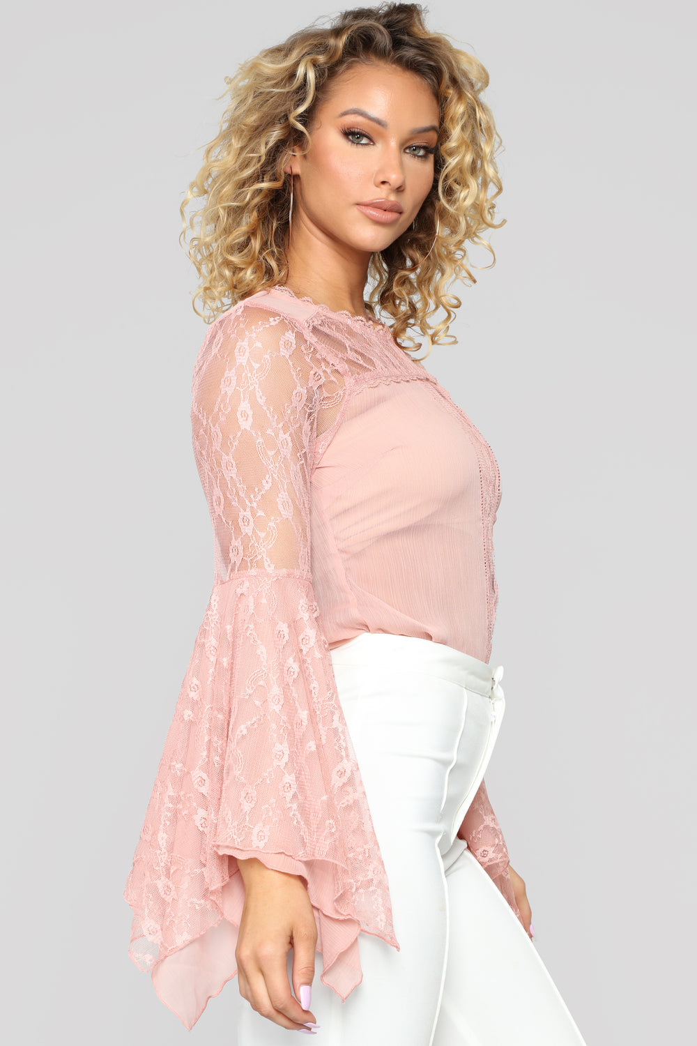 Lace Lover Bell Sleeve Blouse - Rose