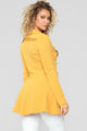 Khloe Button Collared Coat - Mustard
