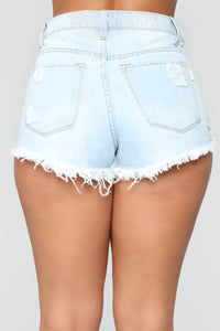 Be That Girl High Rise Distressed Shorts - Light Blue Wash
