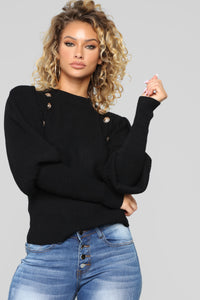 Lookin' Towards The Brighter Side Sweater - Black