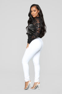 Sequin Date Satin Bomber - Black