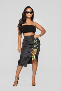 Let's Dance Lace Up Skirt - Black