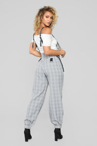 Billie Plaid Jumpsuit - Gray