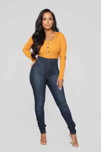 Talk To Me Bodysuit - Mustard