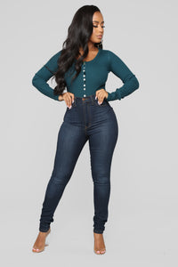 Talk To Me Ribbed Bodysuit - Teal