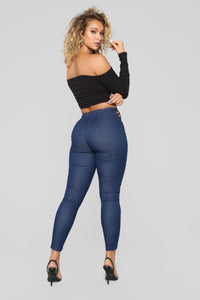 I'm Running Things Lace Up Jeans - Dark Denim