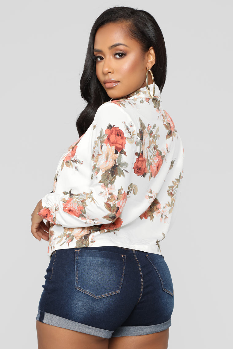 Meet You There Floral Jacket - Ivory