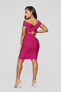 Don't Cross Me Bandage Dress - Plum