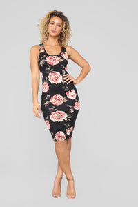 Flowers And Candy Midi Dress - Black/Combo