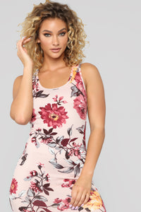 Flowers And Candy Midi Dress - Mauve/Combo