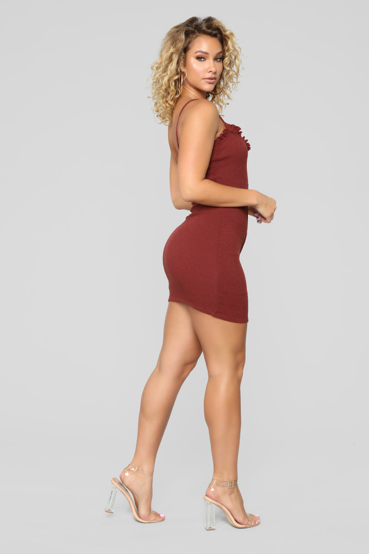 Julia Rib Dress - Burgundy