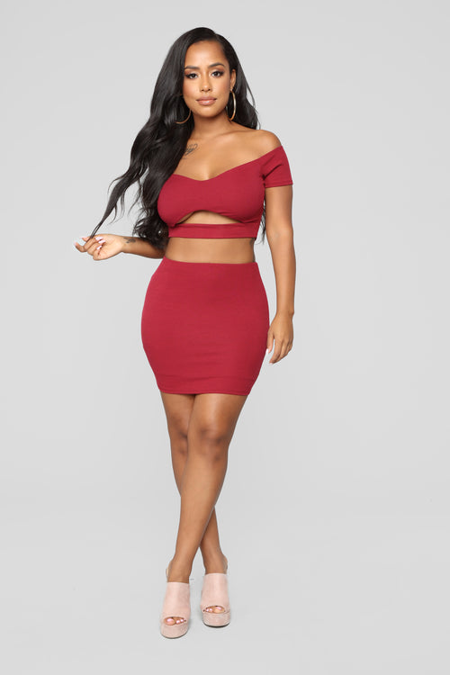 Super Sweet Confessions Skirt Set - Burgundy