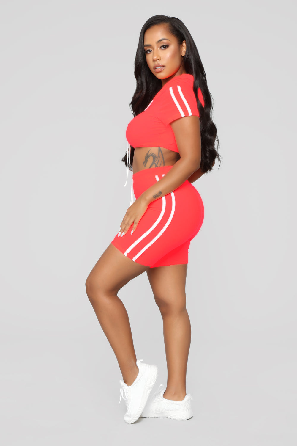Time For Tennis Short Sleeve Set - Neon Coral