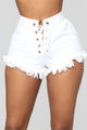No Limits Lace Up Denim Shorts - White