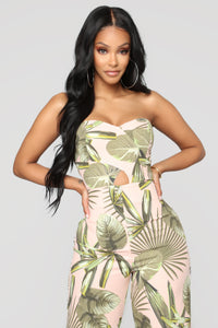 Tropical Like Its Hot Jumpsuit - Blush/Green