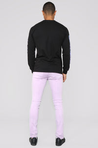 Black Moto Long Sleeve Tee - Black
