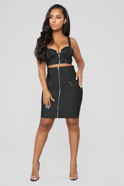 Belt Your Heart Out Skirt Set - Black
