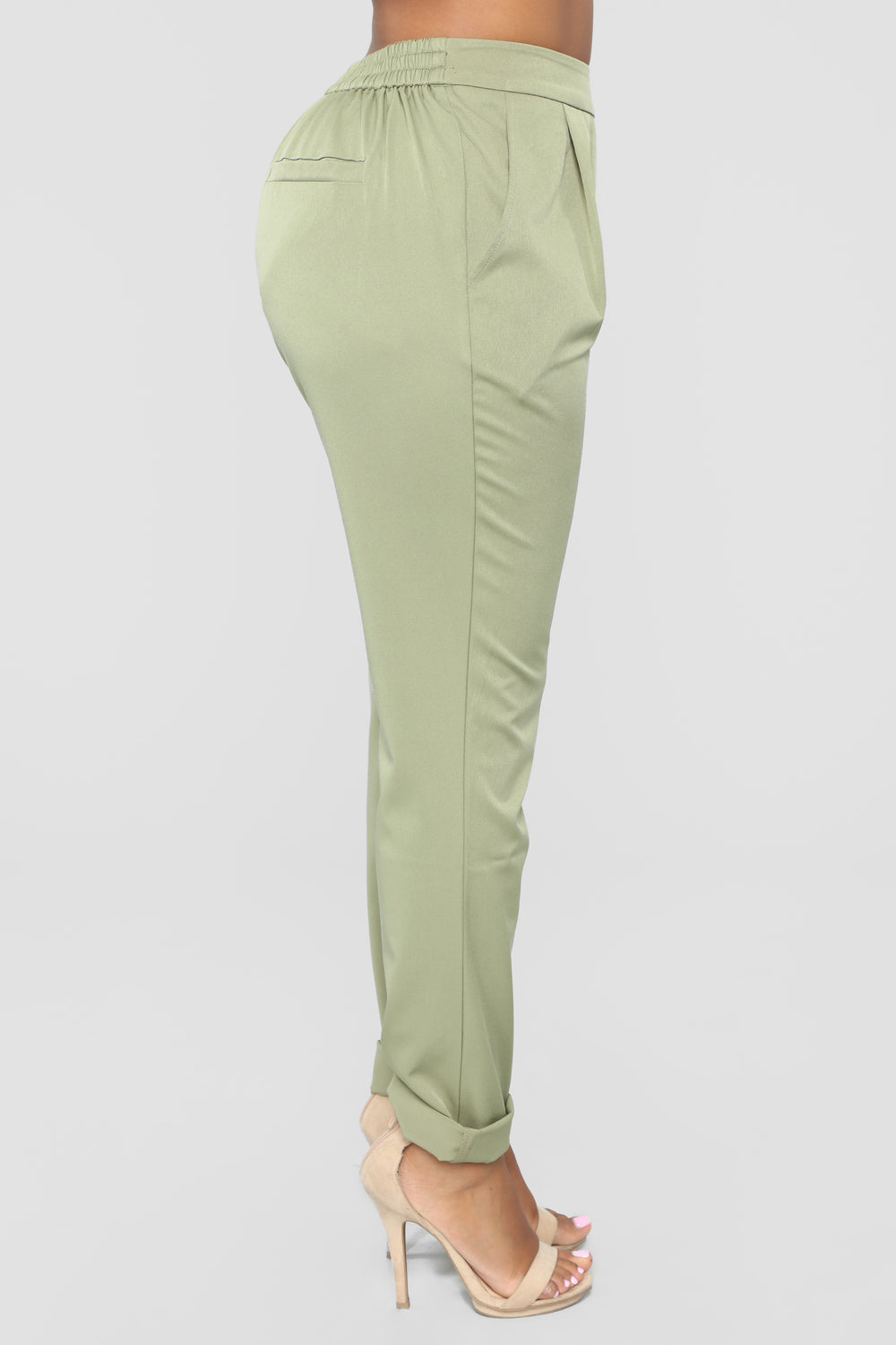 Audrina Cuffed Pants - Olive