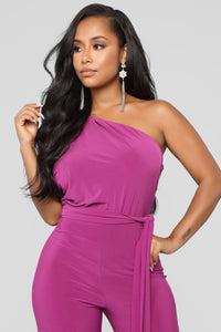 Off Day One Shoulder Jumpsuit - Magenta