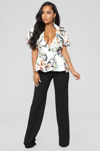 Not My Last Floral Blouse - Ivory Multi