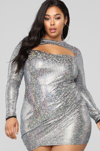 Lia Cut Out Dress - Silver