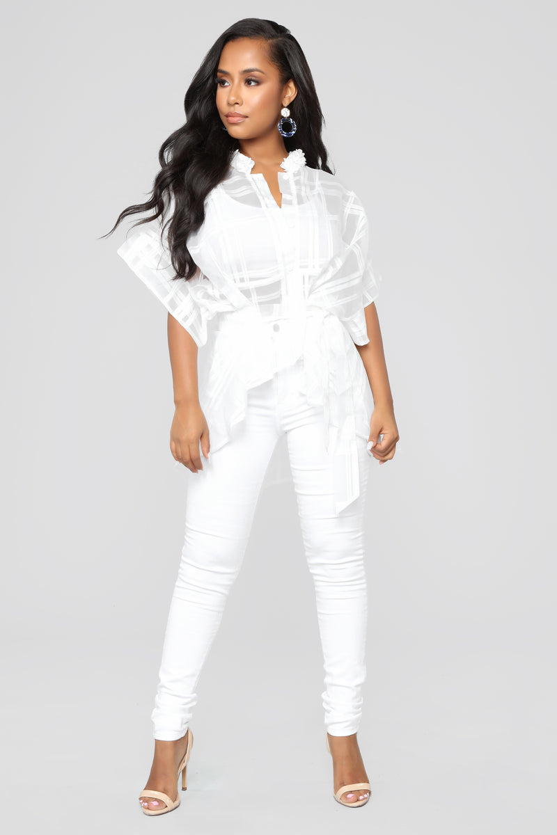 Call It A Night Out Blouse - White