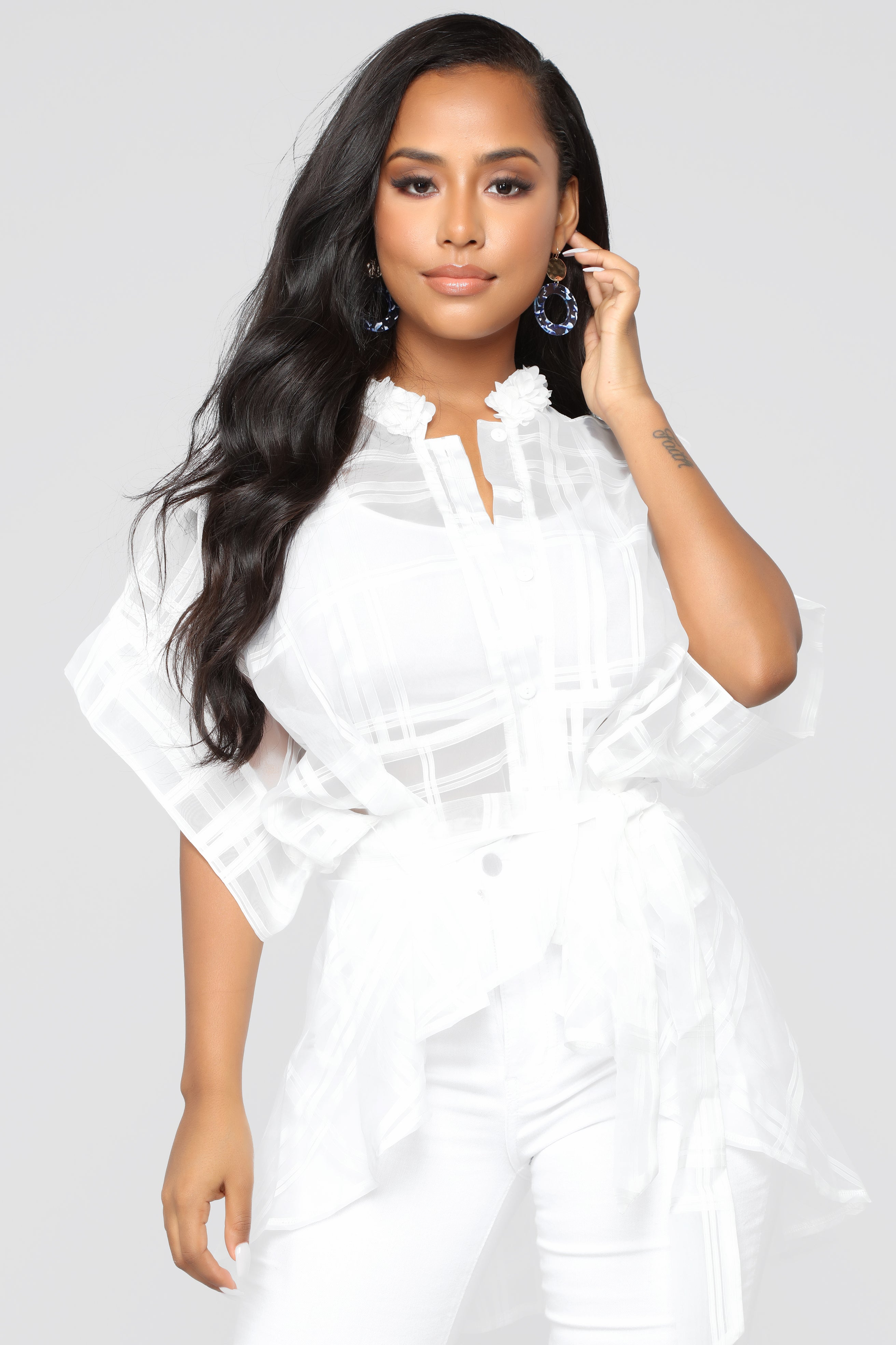 Call It A Night Out Blouse White