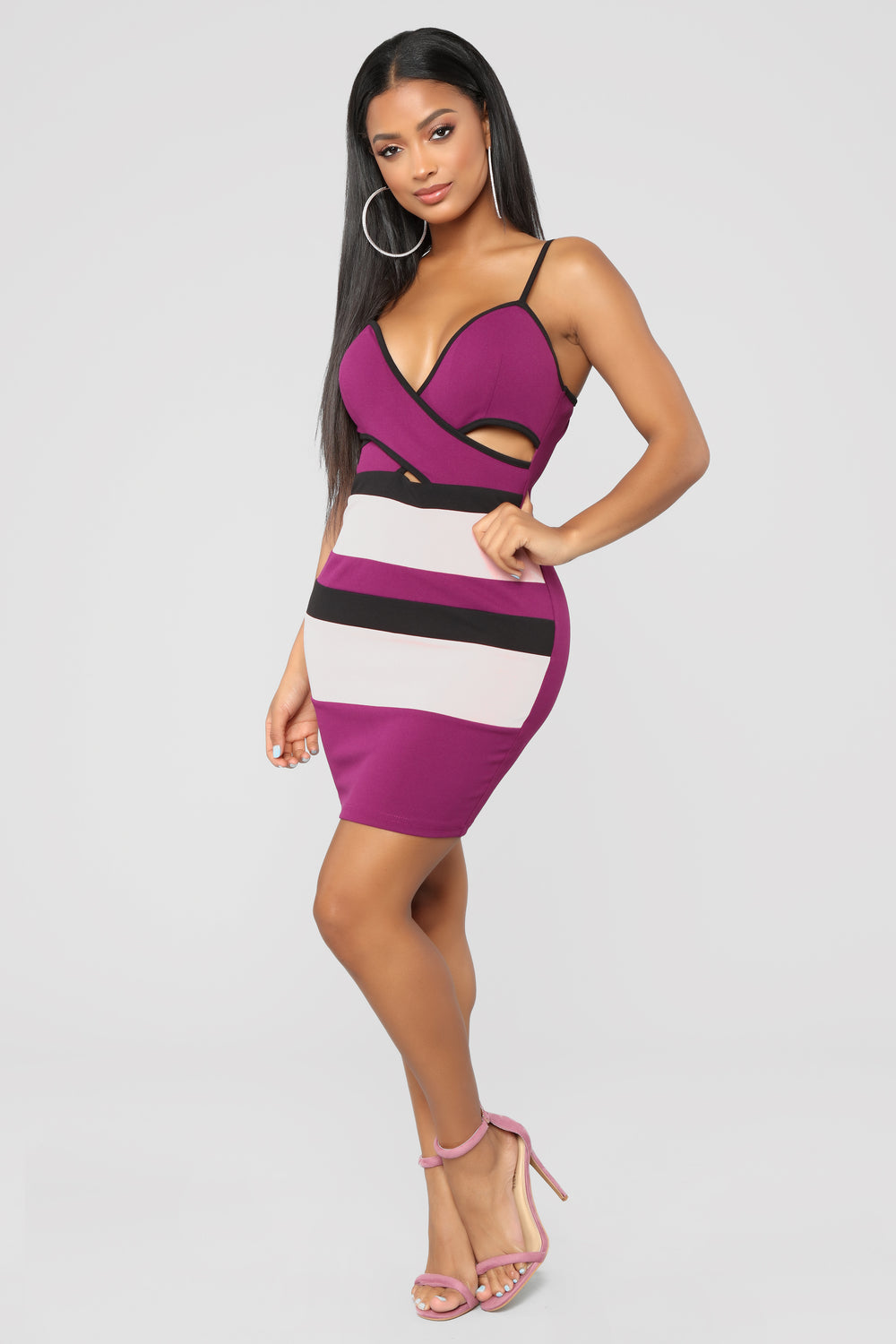 What's Her Name Surplice Dress - Deep Plum