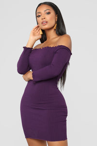 Curious Is This Serious Off Shoulder Dress - Purple