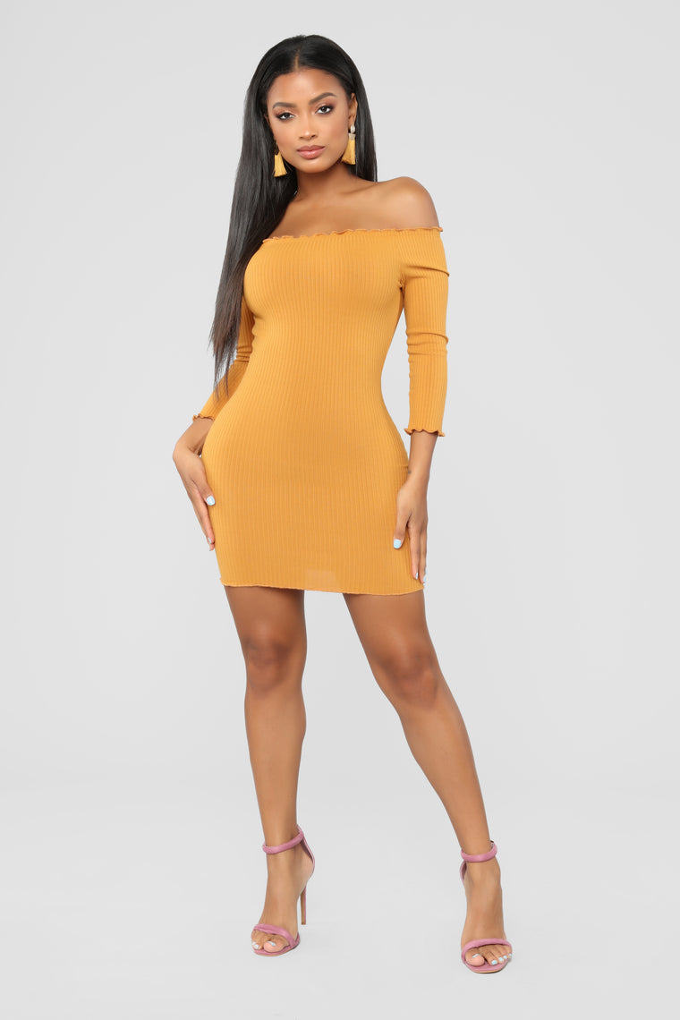 Curious Is This Serious Off Shoulder Dress - Mustard
