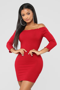Curious Is This Serious Off Shoulder Dress - Burgundy