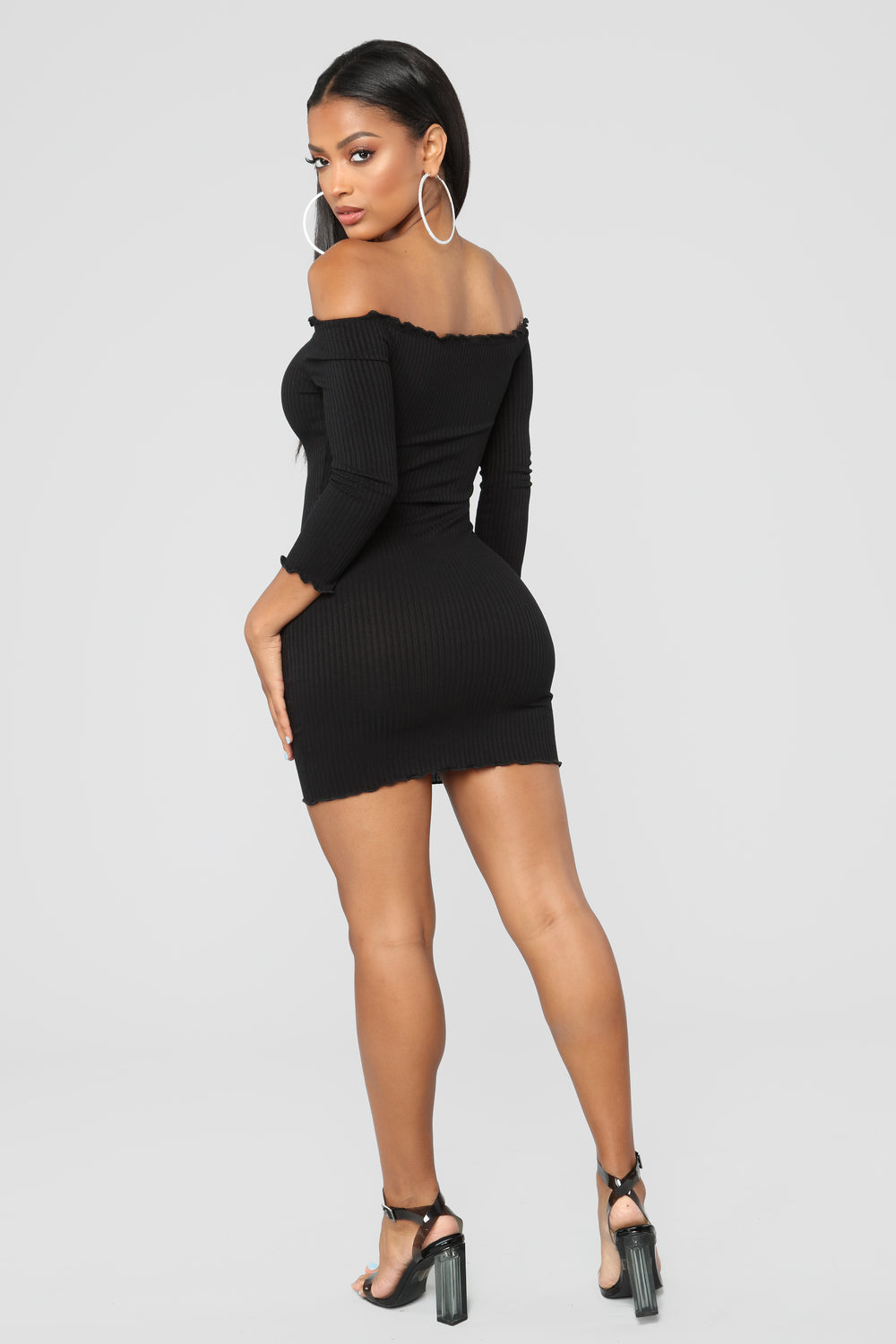 Curious Is This Serious Off Shoulder Dress - Black