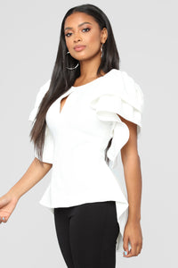 For The Fame Ruffle Top - White